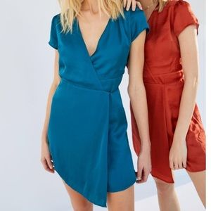 UO Satin Faux Wrap Dress